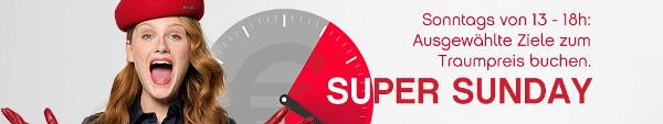 Airberlin Super Sunday: Ausgewählte Flugangebote am Sonntagnachmittag – Spontan nach Mallorca, Faro, Malaga ab 49 EUR/ 75 CHF