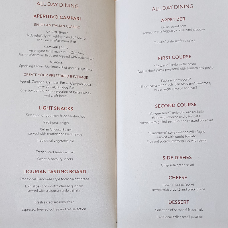 Alitalia Business Class Dinner Menu of Liguria