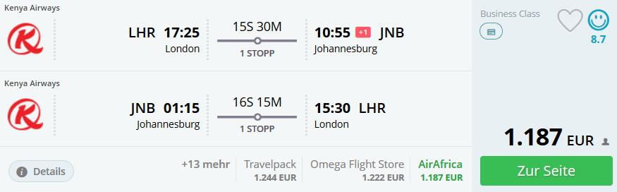 Business Class Flüge nach Johannesburg