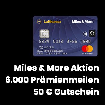 Miles & More Kreditkarten Aktion 6000 Meilen + 50 Euro Lufthansa Gutschein