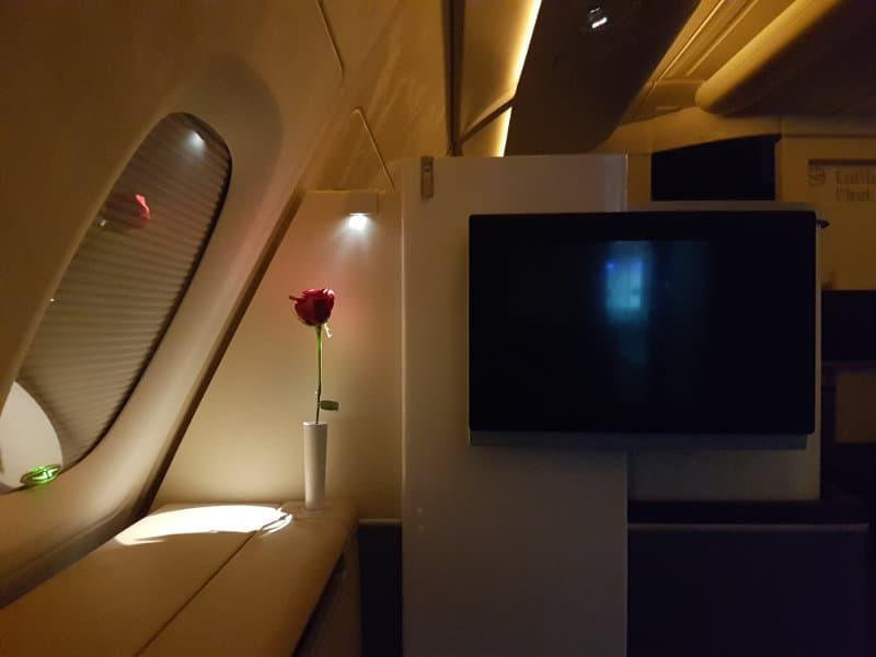 Großzügige First Class Ausstattung bei Lufthansa