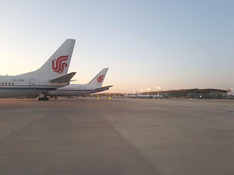 Air China Flughafen Peking in Stillstand