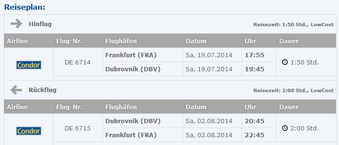 Frankfurt nach Dubrovnik